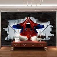 Non Woven spider man photo - 3D photo wallpaper Spider Man Wall Mural Superhero Movie Wallpaper Boy s Room Home decor Kid Bedroom Hallway Sofa TV background wall Gifts