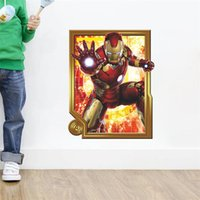 Le plus récent 3D Window Cartoon Captain The Avenger kids Boy Room Bricolage Autocollant mural Autocollant Creative Birthday Gift Stickers