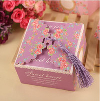 Wholesale Large Sweet Boxes - 100Pcs Lot Sweet Heart Large Square Candy Boxes Large 2015 May Style Wedding Favor Holders Gift Box