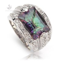 Wholesale Mystic Topaz Stones - Promotion Trendy Fashion Mystic Topaz Romantic Silver Plated RING R704 size 6 7 8 9 Vintage