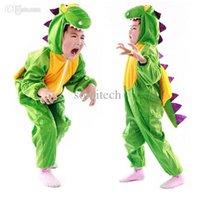 Wholesale Dinosaur Pyjamas - Wholesale-Christmas Halloween party children cosplay costume Cute Children Dinosaur Pyjamas Soft Flannel Dinosaur Jumpsuits