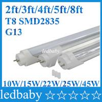 parlak ayaklar led toptan satış-LED Tüpler G13 2ft 3ft 4ft 5ft 8ft Ayaklar T8 1200mm tüp Lamba AC85-265V SMD2835 Led ışıkları Süper Parlak CE ROHS UL