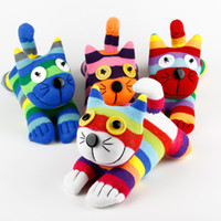 Wholesale Socks Animals Doll - Handmade baby toys sock Cheshire cat stuffed animal doll Birthday Christmas gifts