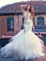 Wholesale Sheer Mermaid - White Wedding Dress Illusion Bodice Sheer Jewel Neck Tiers Tulle Skirts Sexy Mermaid Trumpet Plus Size Backless Sleeveless Wedding Dresses