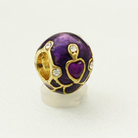 Wholesale Purple Easter Eggs - wholesale and retail Factory Metal Jewelry Enamel heart crystal Faberge Egg Rushion Egg Beads Fits for Bracelets