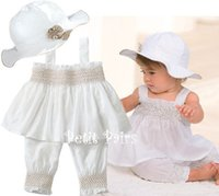 Wholesale White Summer Baby Hat - NEW ARRIVAL baby girl infant toddler 3pc sets outfits strap dress tanks tank tops shirt vest + shorts short pants legging + cap hat 4set