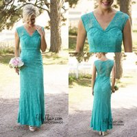 Wholesale Turquoise Ankle Length Dress - 2016 Cheap Vintage Country Bridesmaid Dresses V Neck Illusion Full Lace Beads Turquoise Ankle Length For Wedding Formal Prom Evening Gowns