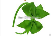 Wholesale Glued Hair Bows - SALE!!Free Shipping 30pcs lot 3 inch Grosgrain Ribbon Pinwheel Hair Bows Glued On Plastic Covered Headbands Girl DIY Hair Accessories
