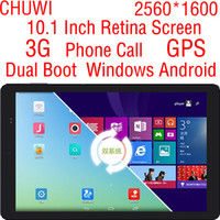 Wholesale Retina Dual Sim - Wholesale-10 Inch Retina Screen 2560*1600 Dual Boot Android 4.4 Windows 8.1 Tablet PC 3G Sim Card Phone Call GPS