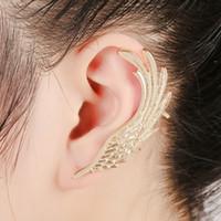engelsmanschette großhandel-Angel Wings Feder Silber Gold Ohrclips Ohrringe für Frauen Ohr Punk Schmuck Geschenk Mädchen Ohr Manschette Ohrringe KX