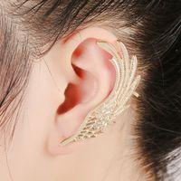 ingrosso polsini in orecchino della piuma-Angel Wings piuma argento oro orecchini a clip per le donne orecchio Punk gioielli regalo ragazza orecchio polsino orecchini KX