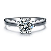 Wholesale nscd diamond wedding sets - 925 Sterling Silver rings Hearts and Arrows 6 prong setting 1 Ct NSCD Simulated Diamond Engagement Wedding rings for women,Solitaire Ring