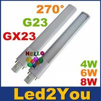 Wholesale outdoor edison bulb resale online - G23 GX23 Led PL Light Super Bright W W W Led Bulbs Angle Replac CFL Lights AC V