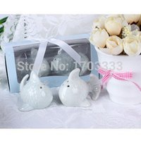 Wholesale Kissing Fish Shaker - 100SETS=200pcs Kissing fish Salt Pepper shaker The Perfect Pair Wedding favors and gifts Free shipping