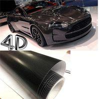 Wholesale Car Wrap Bubble Free Black - 200mmX1520mm 4D Black Carbon Fiber Textured Vinyl with Bubble Free Air Release DIY Wrap Sheet Film Car Sticker Decal Car Styling