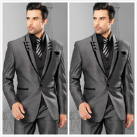Wholesale Two Piece Winter Wedding Dresses - High Quality One Button Grey Groom Tuxedos Peak Lapel Groomsmen Mens Wedding Dresses Prom Suits (Jacket+Pants+Vest+Tie) H431