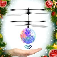 Wholesale Helicopter Toys For Kids - LED Ball Helicopter Ball Flying Induction LED Sensor Suspension Aircraft for Kids Xmas Gift Flying Ball KKA3524