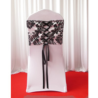 Wholesale Tying Corset - 28cm*80cm White & Black Flocking Taffeta Chair Cover Sash With Tie Backs  Elegance Damask Corset Chair Sash