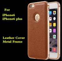 Wholesale Wholesale Metal Phone Covers - 6 Colors Aluminum Metal Frame Bumper Leather Cell Phone Covers Case For iPhone 6s Plus 6 Plus