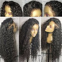 Wholesale long parted wigs - Free Part Lace Front Human Hair Wigs With Baby Hair 9A Natural Hairline Kinky Curly Brazilian Virgin Lace Front Wigs For Black Women