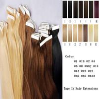 уток для волос оптовых-Лента на коже 4 см Ширина 10 '' - 26 '' 2.5 г / шт. 40 шт. / 100 г Прямой уток волос индийских волос Реми Лента в / на наращивание человеческих волос
