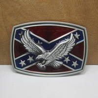Wholesale antique brass eagle for sale - Group buy BuckleHome rebel belt buckle with eagle FP with pewter finish and antique brass finish