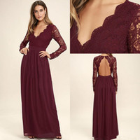 Wholesale formal dresses for weddings guests for sale - Group buy 2020 Burgundy Long Sleeves Bridesmaid Dresses For Wedding Lace Chiffon Long Sleeve Mermaid Maid Of Honor Gowns Wedding Guest Formal Dress