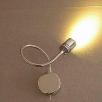 Wholesale Sconce Chrome - Modern LED Wall Sconce Chrome finish 3W CREE LED 200LM Elegant lampshade soft healthy light neat compact design Indoor RV Boats Lighting