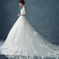 Wholesale white lace wedding dress shop resale online - Hot Sale No Risk Shopping Sexy Fashion Off the shoulder Sheer Half Sleeve Cathedral Applique Lace Wedding Dresses