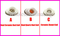 Wholesale Double Clearomizer - Full Ceramic wax double coil atomizer dual heating coil clearomizer ceramic donut coil for micro gpen Elips pen quartz double coil atomizer