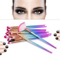 Wholesale Glitter Eyelash - 15pcs Eyes Makeup Brushes Set Glitter Cosmetic Eyeshadow Eyebrow Eyeliner Eyelash Blending Powder Make Up Brush Beauty Tools Kit