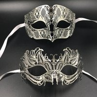 Wholesale Carnival Costumes Couples - Fancy Black Butterfly Men Lady Lovers Couple Party Masks Pair Set Lot Masquerade Carnivals Prom Costume Couple Ball Masks lot