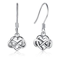 Infinity Love Heart Design 925 Sterling Silver Earrings Retro Style Womens Drop Dangle Chandelier Clip on Earrings