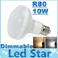 Wholesale E27 Globe Dimmable - Super Bright R80 Dimmable Led Bulbs Light E27 10W 880lm AC 85-265V Led Lamp Warm Cold White 180 Angle + CE UL SAA