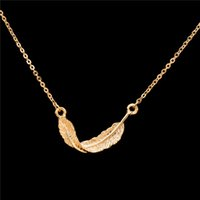Wholesale Elegant Vintage Necklaces Chain - Wholesale 10Pcs lot 2017 Direct Selling Vintage Jewelry Pendant Dainty Feather Gold Chain Choker Necklaces for Women Elegant Party Jewellery