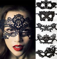 LACE cloth black cat bat - 20pcs Sexy crown bat cat Lovely Lace Halloween masquerade masks Party Masks Venetian Party Half Face Mask For Christmas