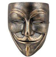 ingrosso resina maschera anonima-Maschera anonimo in bronzo di alta qualità Resina v per maschera in maschera di faida Maschera di Guy Fawkes Maschera di carnevale in maschera per regalo da collezione