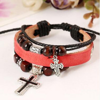 Barato Charme De Couro Jewerly-Cross Leather Bracelet 2016 Charms Leather Bracelets Male Personality Hand-woven Fashion Casual Bracele Vintage Women Men Jewerly 00126