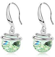 brincos pendentes venda por atacado-Coreano moda jóias Swarovski Elements cristal brincos 18k Gold Filled Mulheres Dangle Brincos 9651