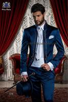 Wholesale Italian Jackets For Men - 2015 Italian Suit Embroidery Stand Collar Wedding Suit for men Blue Groomsmen Suit Bridegroom suit two piece suit (Jacket+Pants+Cummerbunds)