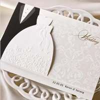 Wholesale Chinese Wedding Dress Top - New Personalized Design White The Bride and Groom Dress Style Invitation Card Wedding Invitations Envelopes Sealed Card Top Quality