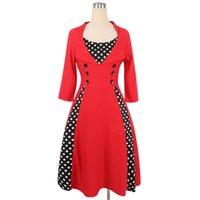 2018 Elegant Womens 1950s 20s Vintage Dress 3/4 Sleeve Turn-down Colletto a pois Patchwork Puffy al ginocchio Retro Swing Dress
