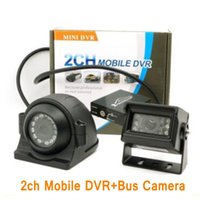 Wholesale Bus Video Monitor - 2CH Mobile DVR mini Bus vehicle DVR with remote control motion detection Realtime Video&Audio Recorder with 2pcs camera+ cable ann