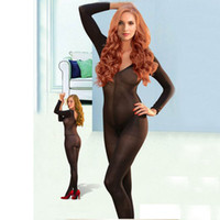Wholesale Sexy Bodystocking Wholesale - Nylon elegant Women's Sexy Opaque Long Sleeve Bodystocking with Open Crotch Bodysuit 3 Colors Available Free Shipping