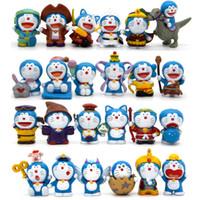 Wholesale Miniature Garden Christmas - 24pcs set Doraemon cartoon cat Toppers Dolls PVC Action Figures Toy Fairy Garden Miniatures Craft for kids Christmas Birthday Gift
