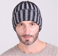Wholesale Red Striped Beanie - The new double color stripe hat Men and women fashion sets autumn winter warm knitted cap cap Ski hat