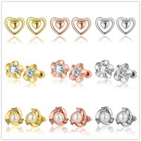 Wholesale Heart Rhinestone Pearl - Rose White Gold Plated Stud Earrings Dazzling Flower Pearl Heart Charms Stud Rhinestone Crystal Stud Earrings Can be Mixed E969 1009 1010