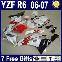 montaj kalıbı toptan satış-Kırmızı beyaz 2006 2007 YAMAHA R6 marangozluk 06 07 YZF R6 kaporta kiti için 100% fit + 7 hediyeler