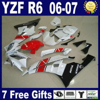 Wholesale r6 fairing injection resale online - Red white Injeciotn mold for YAMAHA R6 fairings YZF R6 fairing kit fit gifts