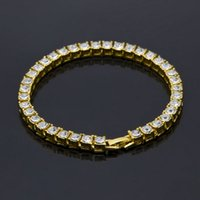 Wholesale Hip Mens Bracelets - Mens hip hop jewelry single row of rhinestones bracelets European and American style crystal hiphop chain bracelets accessories
